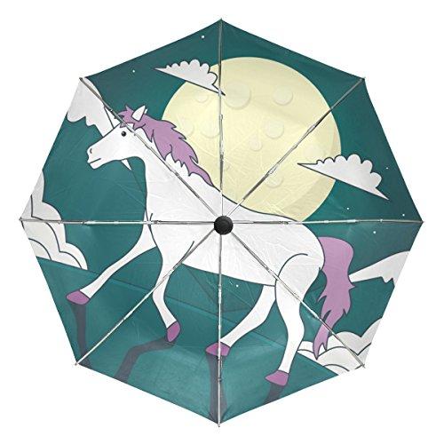 Ieararfre Paraguas Unicornios Tri-Fold Umbrellas Resistente al Viento, Mango ergonómico, toldo Reforzado, Apertura automática/Cierre Múltiples Colores
