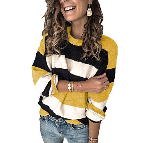 ZFQQ Suéter Suelto a Rayas de Color en Contraste para Mujer Otoño/Invierno