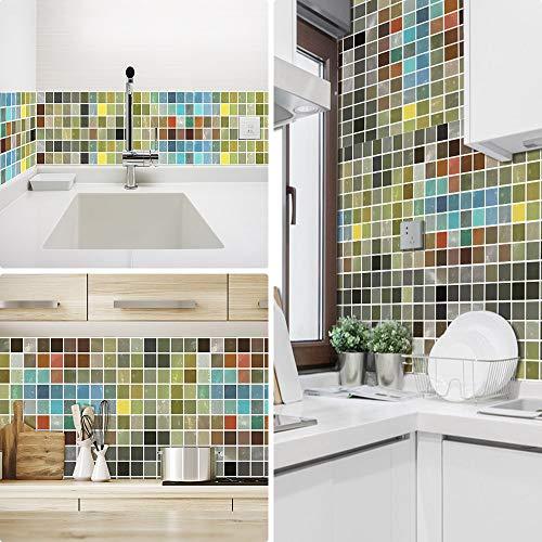 Ruifulex Pegatinas de Azulejos para Cocina Mosaico baños ladrillo escaleras Suelo 20x20 cm, Coloreado Papel simulación rueba de Aceite Vinilo Autoadhesivo Impermeable baldosas hidraulicas Actualizar