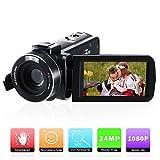 Caméscope Numérique Caméra Vidéo Full HD 1080P,FamBrow Appareil Photo 24MP 16X Zoom Numérique 3.0 Pouces 270 Degrés LCD Ecran Rotatif Camera Youtube avec Éclairage D'appoint Intégré