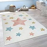 Alfombra Infantil Pelo Corto Colorida Pastel Diseño Estrellas Adorable En Crema, tamaño:120x170 cm