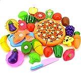 Westeng 24 Stücke/Set Gemüse Obst Küchenspielzeug Kinder Plastic Schneiden Toy Lebensmittel Kinderküche Zubehör Schneidebretter Spielzeug