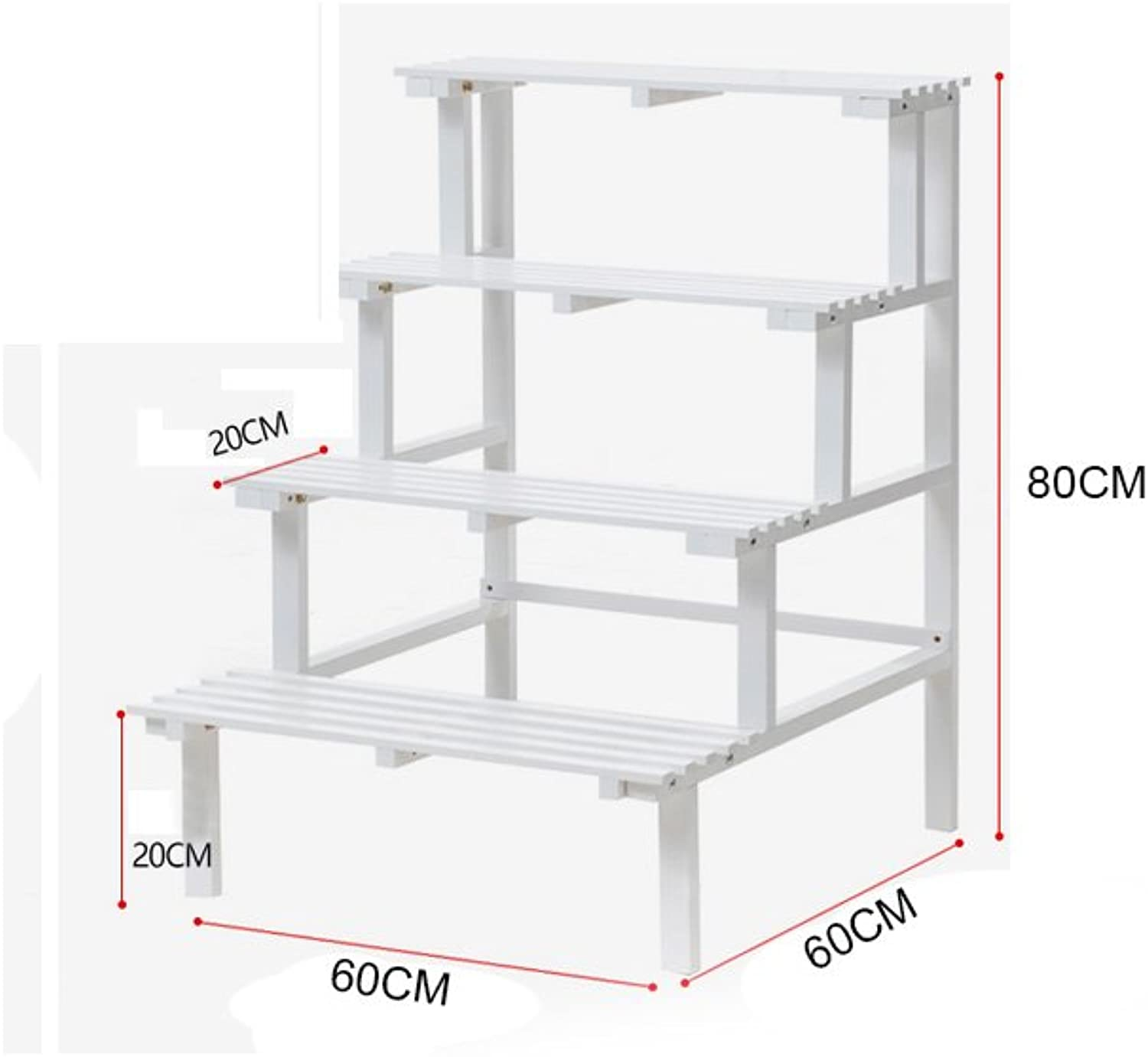 Flower Racks- Free Standing 3 Tiers Wood Corner Plant Stands Flower Pot Holder Display Rack Stand, 2 colors, 2 Sizes (color   White, Size   B)
