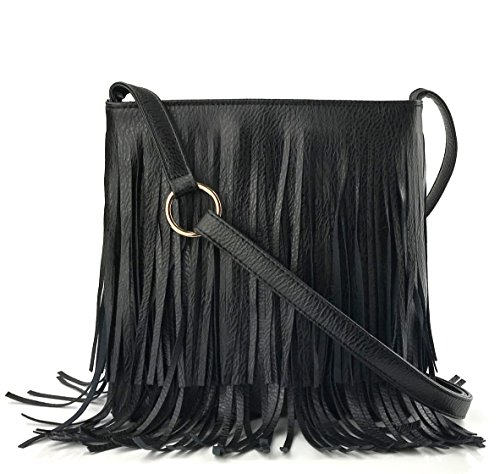 """This Crossbody Fringe bag made with good quality PU leather and glamorous hardware. It's top zipper closure, easy to open and close when carry it; Adjustable shoulder straps with 24.5"""" drop ; Enough space to carry long wallet ,workbook, cell phone, w..."""