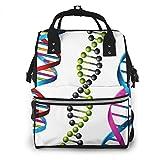 Mochila de Pañales para Cambiar Pañales Helix DNA Genetic, Gran Capacidad Bolsa de Momias a Prueba de Agua Elegante para Mamá Papá Viajar Con Un Bebé
