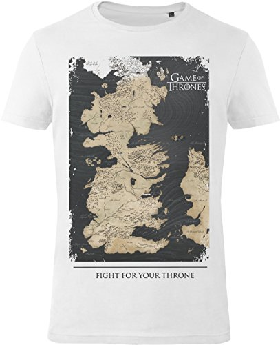 GOZOO Game of Thrones T-shirt heren Westeros Map - Fight for Your Throne 100% katoen wit