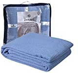 8. DOLLCENT 100% Soft Premium Combed Cotton Thermal Blanket– Queen Blanket– Soft Cozy Warm Cotton Blanket– Bed Throw Blanket– Queen Bed Blankets– All Season Cotton Blankets– Blue Queen Cotton Blankets