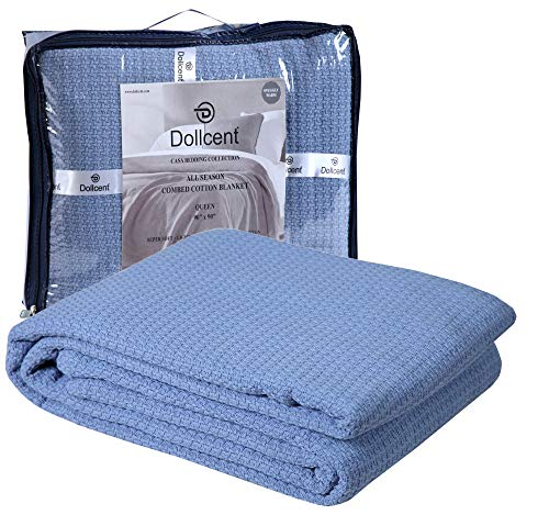 DOLLCENT 100% Soft Premium Combed Cotton Thermal Blanket Queen Blanket Soft Cozy Warm Cotton Blanket Bed Throw Blanket Queen Bed Blankets All Season Cotton Blankets Blue Queen Cotton Blankets