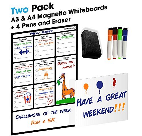 Magnetic Weekly Fridge Whiteboard - Family Planner Whiteboard - A4 Small Whiteboard for Positive Comments - Memory Board to Help Reduce Stress