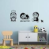 asd137588 Pegatinas de Pared Kawaii japonés Personaje de Dibujos Animados Doraemon Gato extraíble Vinilo Tatuajes de Pared calcomanías para niños decoración de la habitación