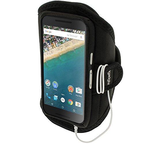 igadgitz Wasserabweisend Schwarz Sports Jogging Armband Laufen Fitness Oberarmtasche für LG Nexus 5X 2015