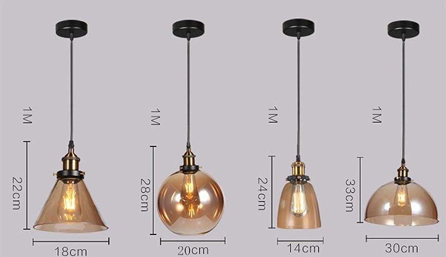 XHX Luminaires suspendus, Luminaires suspendus Vintage Industria - 1 lumière, lustre de loft restaurant pour salon, bars, restaurant, café,3  -ambre