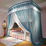 DSTG Double-Layer Mother-and-Child Bed,Children's Bed, Bunk Bed and Mosquito Net,Home Bedroom,Dormitory,Straight Ladder,Cabinet Ladder Blue-2.0m