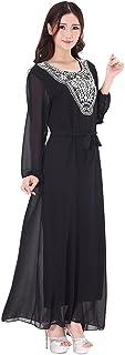 GladThink Women's Plus Size Muslim Chiffon Kaftan Islamic Maxi Dress