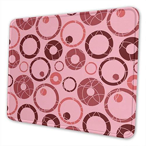 Mauspads für Computer mit Designs Pink Circle Cloud Rectangle-Mauspad mit abgenähtem Rand rutschfeste Gummibasis, wasserdicht für das Arbeiten und Spielen, 8,3 x 10,3 Zoll