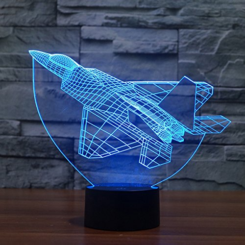 Fighter Jet Plane 3D Illusion Lamp Led Night Light, USB Powered 7 Colours Flashing Touch Switch Bedroom Decoration Lighting for Kids Christmas Gift