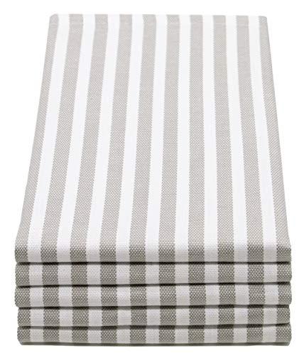 ZOLLNER 5er Set Geschirrtücher gestreift, 50x70 cm, grau weiß gestreift