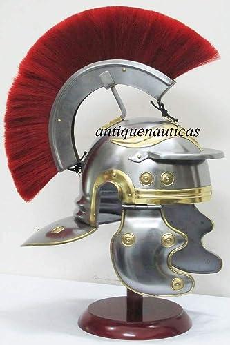 descuento de bajo precio Roman Centurion - Casco Casco Casco medieval de latón con armazón rojo  selección larga