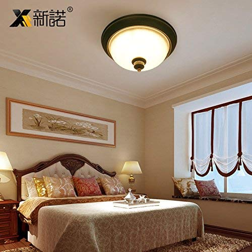 BAIJJ American Country Retro plafondlamp, Scandinavische plafondlamp, kinderkamer, studio, balkon, hal, hal, ingang, ronde verlichting, diameter 39 cm, 5 W - warm licht?