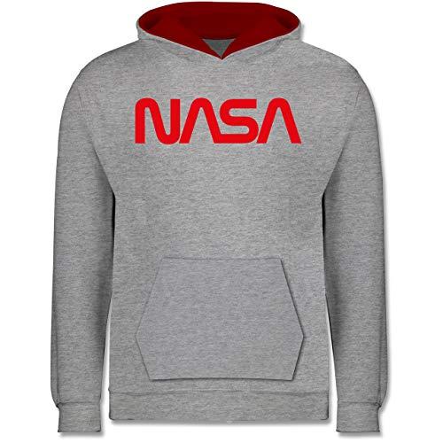 Shirtracer Up to Date Kind - NASA Worm Motiv - 152 (12/13 Jahre) - Grau meliert/Rot - NASA Pullover Kinder schwarz - JH003K - Kinder Kontrast Hoodie