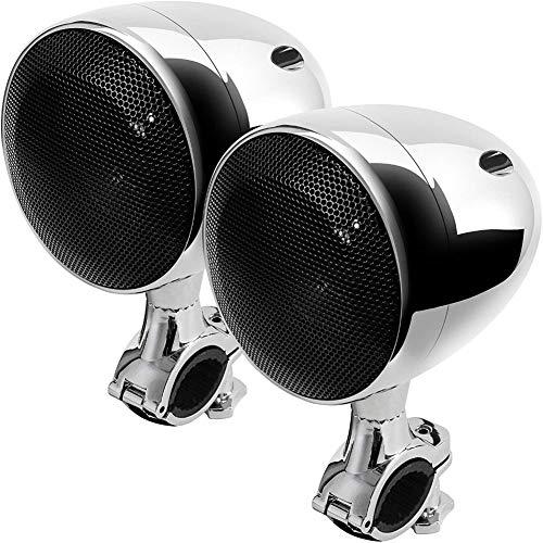 """YTBLF Motorrad-Bluetooth-Lautsprecher, 4\""""wasserdichtes Motorrad-ATV-Bluetooth-Lautsprechersystem mit 300W eingebautem D-Klasse-Verstärker Chrome,Silver"""