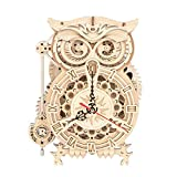 Owl Clock 3D Jigsaw Puzzle Construction Set DIY Mechanical Model Build Kit 3D Laser Cut Woodcraft Model Making Puzzle Challenge Gift Set for Adult and Teens
