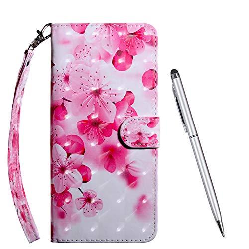 TOUCASA Hülle Kompatibel mit Huawei Honor View 20, Handyhülle Brieftasche PU Leder Flip [3D] Hülle Magnetverschluss Handytasche Klapphülle Tasche Lederhülle Schutzhülle (Kirschblüten)