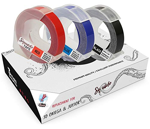 Squuido 3 Etiquetas Blanco sobre Rojo/Azul/Negro Etiquetas de estampación 3D autoadhesivas 9mm x 3m compatibles para Dymo Omega & Junior