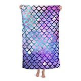 Mermaid Beach Towel Mermaid Scales Microfiber Beach Blanket Highly Absorbent Fade Resistant Oversized Quick Dry Bath Towels for Kids Adults Sand Free Large Towels for Swim Travel Sports 52' x 32'