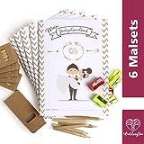 WeddingTree Malbuch Hochzeit für Kinder mit Buntstifte und Anspitzer - Gastgeschenke Hochzeit Kinder - Beschäftigung Hochzeit für Kinder - Hochzeitsmalbuch für Kinder