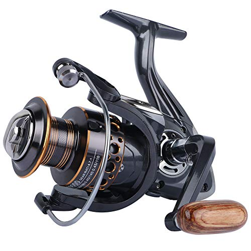 HPLIFE Spinning Fishing Reel, 13BB Spinning Reel, with Left/Right Interchangeable Collapsible Wood Handle Metal Body 5.2:1/4.7:1 Gear Ratio Smooth, Inshore Boat Rock Freshwater Saltwater Fishing