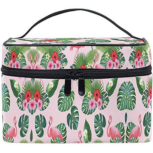 Cartoon Flamingo Cosmetic Bag Tropical Palm Flowers Travel Cosmetic Brush Bag Storage Organizer