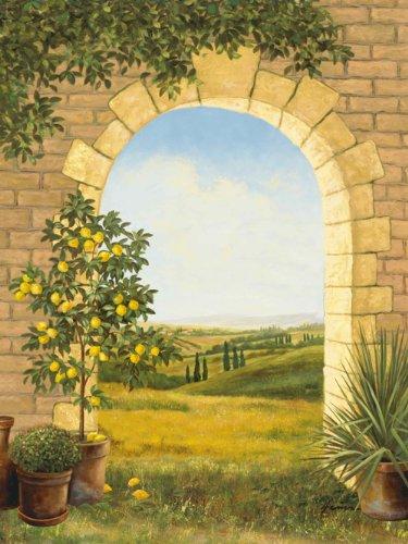 Artland Poster Kunstdruck Posterdruck Posterbilder 60x80 cm Landschaften Fensterblick Malerei Creme Zitronenbaum vorm Torbogen II T4AK