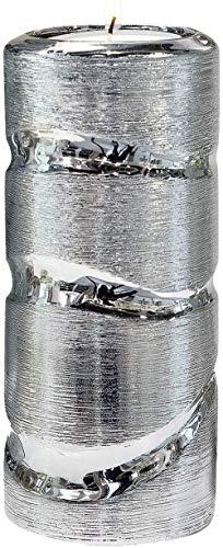 Dreamlight Portavelas Moderno candelabro Farol Fabricado en cerámica Plata Altura 30 cm Ancho 9 cm