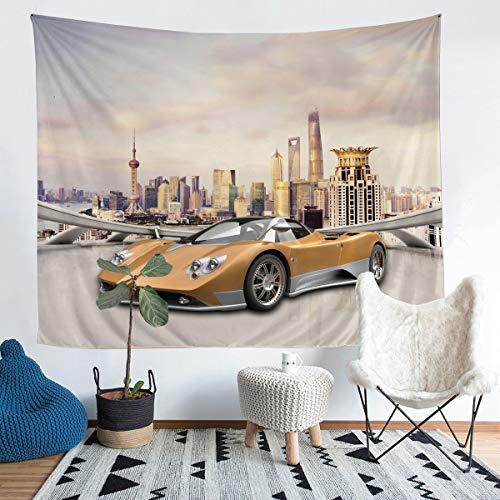 Tapiz deportivo para coche de carreras de velocidad, para colgar en la pared, para niños, niñas, deportes extremos, de lujo, para pared, para dormitorio, sala de estar, XLarge de 152 x 222 cm