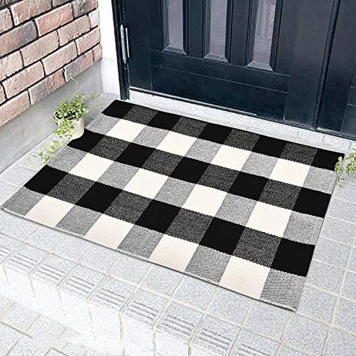 Sunm Boutique Fußmatte Schmutzfangmatte Sauberlaufmatte Türmatte Fußabstreifer rutschfest für innen und außen 60 x 90 cm Kariert