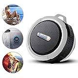 i-Tronixs Bluetooth-Lautsprecher für Wiko Lenny 2, wasserdicht, mit Saugnapf und stabilem Haken, kompatibel mit iOS, Android, PC, Pad, Weiß