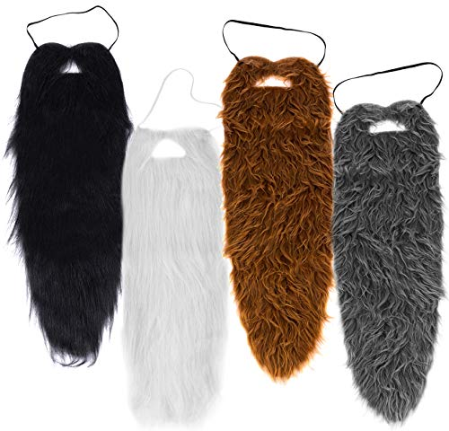Tigerdoe Beards - 4 Pack - Long Beard Costume - 23' Beards - Fake Beard and Mustaches - Costume Accessories - Dress Up