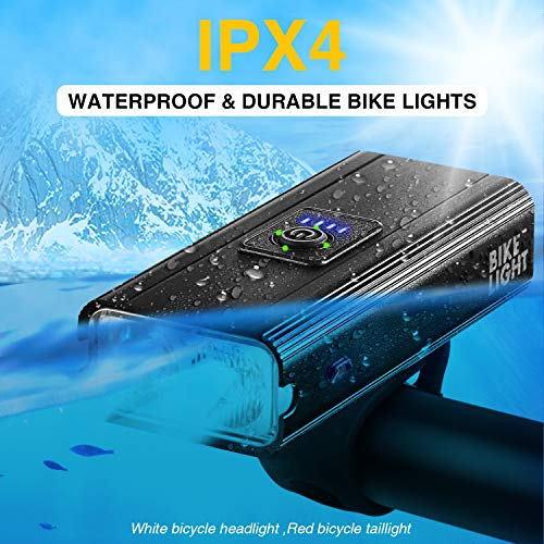 LED Bike Lights Set - USB Rechargeable Bicycle Lights 1000 Lumens Super Bright, IPX4 Waterproof & 6 Lighting Modes, Front and Rear Bicycle Lights fits All Bicycle