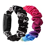 (2-Pack) Chofit Strap Compatible with Fitbit Inspire 2/Inspire HR/Inspire Straps, Replacement Scrunchies Arm Band Chiffon Satin Wristband for Inspire 2 Fitness Tracker (Small, Black-Grey+Rainbow)