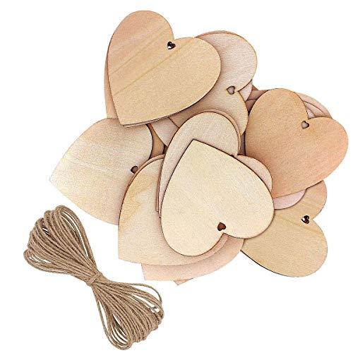 JieGuanG - Corazones de madera en forma de corazón para manualidades, regalo personalizado, decoración de boda (10 unidades)