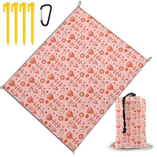 Axige888 Folksy - Esterilla plegable para pícnic, diseño de flores y pájaros, color coral y rosa