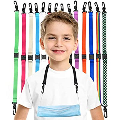 Chainchilla K1 Mask Lanyard for Kids – 5 PACK Breakaway Lanyard for Mask for Kids – 14-inch Polyester Lanyard with Breakaway Safety Clasp – Comfortable and Soft Fabric - (Black, 5)