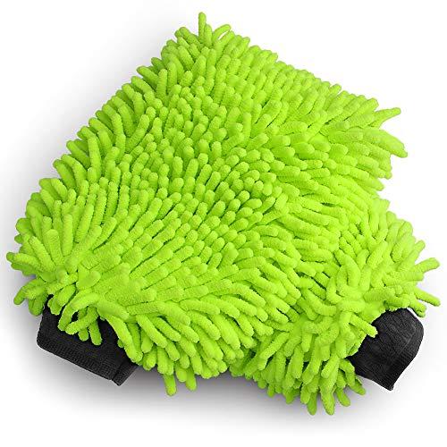AIDEA Car Wash Mitt Microfiber Scratch & Lint Free, Premium Chenille Microfiber Wash Mitt-Green Regular Size (7.12''X10.14'')-2Pack