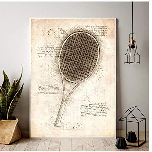 ASLKUYT Dibujos de diseño de raqueta de tenis pintura al óleo póster impresiones lienzo cuadro de pared para la decoración de la habitación del hogar-20x32 en sin marco