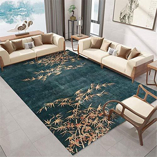 Kunsen La alfombras Grande La Alfombra Patrón de Hoja de bambú Verde Amarillo Textura de Tinta Sala de Estar Alfombra China Diseño Moderno Resistente a Las Manchas Suelo Alfombras 120 * 200cm