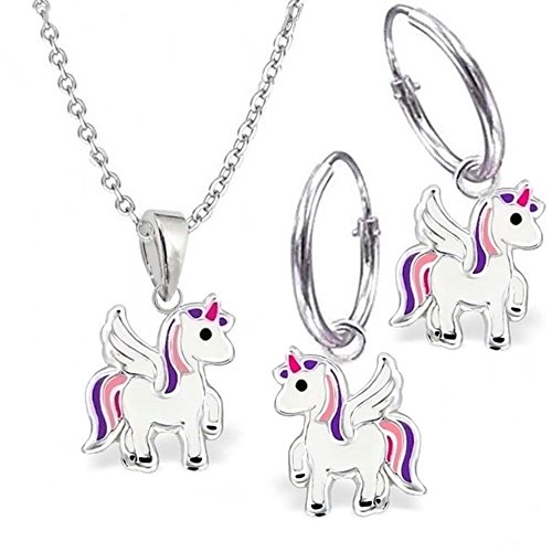 KIDS Mini Pegasus Einhorn Set Creolen + Anhänger + Kette 925 Echt Silber Mädchen Kinder Ohrringe Pferde (40)