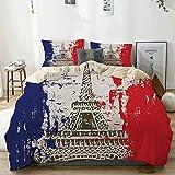 Nonun Juego de Funda nórdica Bandera de Estilo francés con Torre Eiffel Ciudad del Amor en Colores Retro Europa Beige Juego de Cama Decorativo de 3 Piezas con 2 Fundas de Almohada
