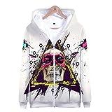 JSDLXD Schädel 3D-Druck Hoodie Jacke Cosplay Kostüm Zip Hoody Sweat Jacke Outwear Mantel Sweatshirt Baseball-EIN_XXS