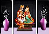 SND Art Radha Krishna UV Textured Set of 3 Modern Art Print MDF Painting for Home Decoration(12 X4.5 inch,12 X 9 inch, 12 X 4.5 inch) Water Proof Wall Painting SUBG05